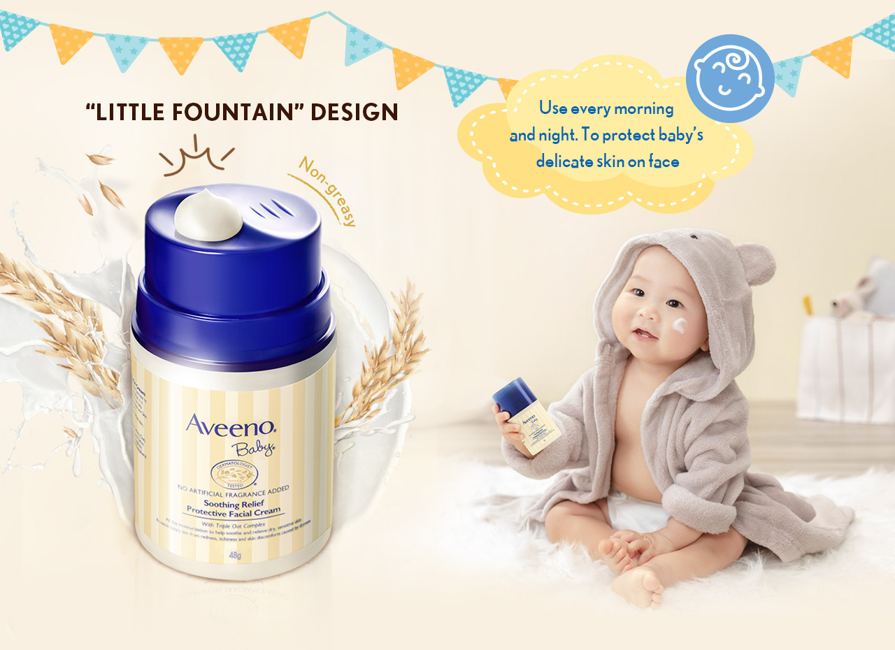 """""""Little Fountain"""" Design Use every morning and night To protect baby's delicate skin on face"""