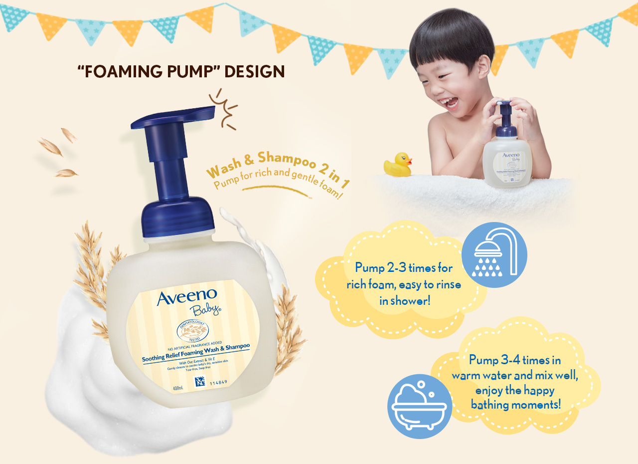 """""""Foaming pump"""" Design Wash & Shampoo 2 in 1 Pump for rich and gentle foam! Pump 2-3 times for rich foam, easy to rinse in shower! Pump 3-4 times in warm water and mix well, enjoy the happy bathing moments!"""